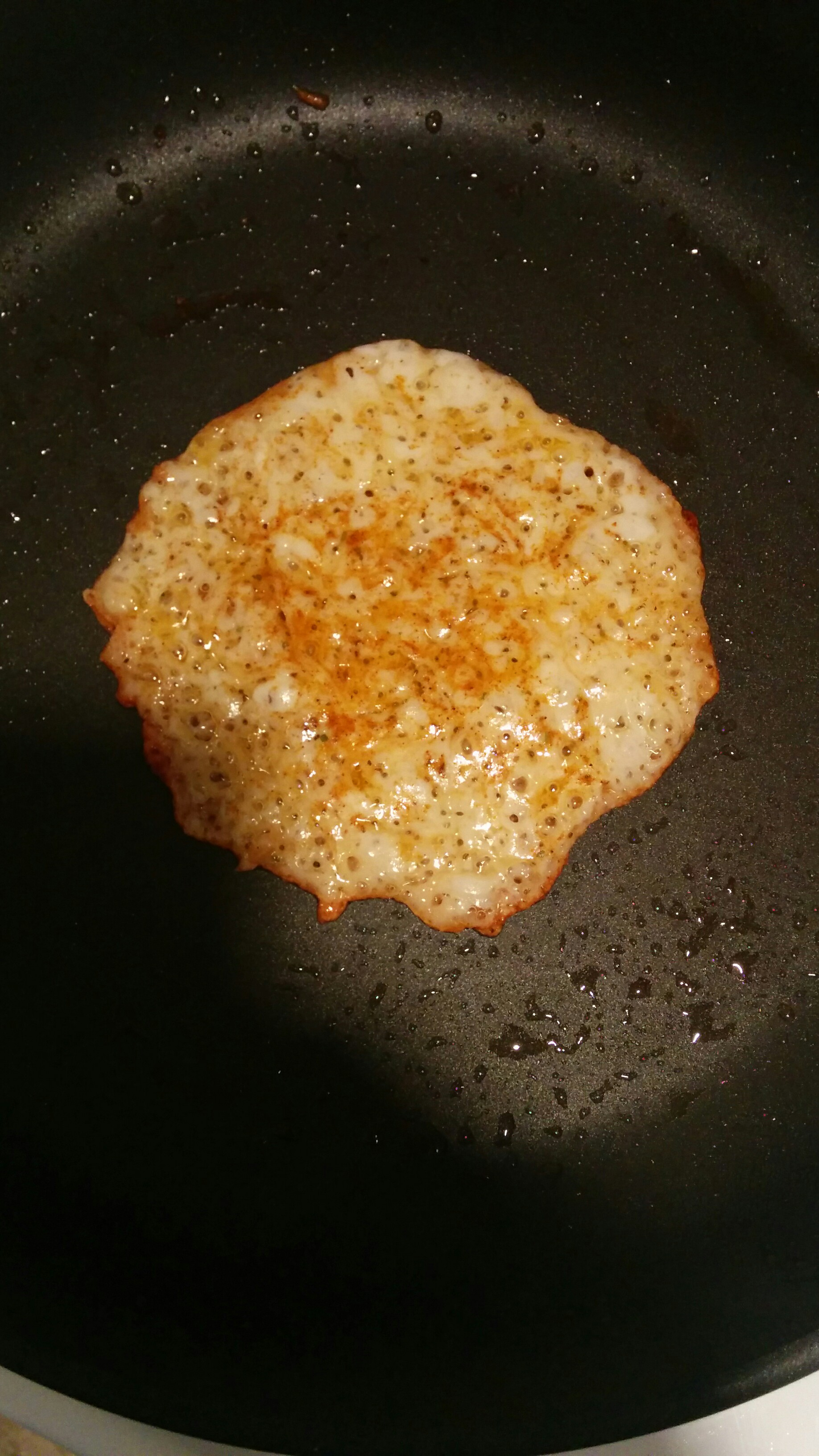 frying up some cheese crisps