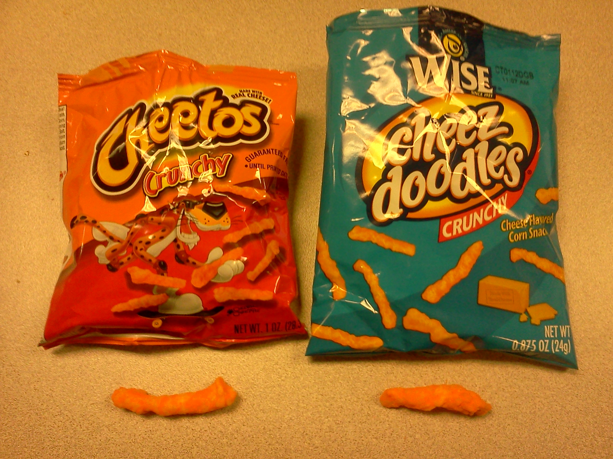 cheetos crunchy vs wise cheez doodles � theres some food